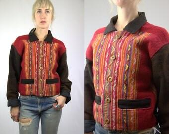 70s Guatemalan Jacket Bright Hand Woven Wool Cropped Southwest Jacket
