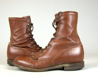 80s Roper Boots Justin Brown Leather Packer Riding Boots, Men's 8.5