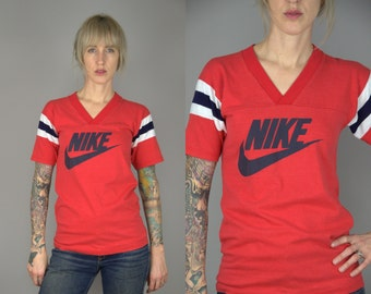 80s NIKE Tee Shirt Red Athletic Stripe 50/50 Cotton Poly T Shirt Made in UK Small