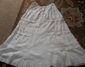 Antique Victorian Lawn Skirt..Good Condition....Victorian Clothes...Historic...Eyelet Lace...FREE SHIPPING