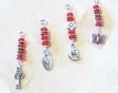 Red Glass Beaded Silver Charm Add a Charm, Purse Charm, Zipper Pull, Key Chain Charm, Gift Charm, Phone Charm, Stylus Charm, Love, Romance