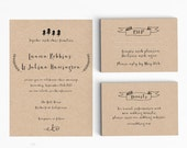 Wedding Invitation Printable Set - Rustic Wedding Invitation Printable - Ready to Print PDF- rsvp card- Letter or A4 Size (Item code: P825)