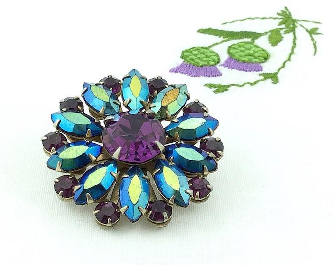 Pretty Vintage Purple Rhinestone Brooch. High End Designer Jewelry. Sparkly brooch. Aqua blue aurora borealis rhinestones jewelry.