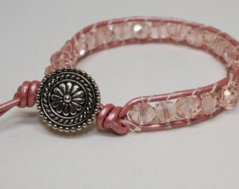 Boho Jewelry, Stack Bracelet - Czech Glass Pink Crystals Leather Wrap Bracelet, Pink Bracelet, Crystal Bracelet, Pink Beaded Bracelet