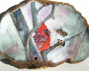 Painted Cardinal  with Birch Trees Bracket Fungus Art