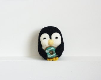 Needle Felted Penguin, Donut, Felt Toy, Blue, Candy, Sugar, Plush, Felt Animal, Penguin, Valentine's, Wool - Gus