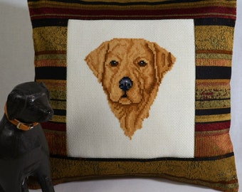 Yellow Labrador Retriever Dog Cross Stitch Pillow