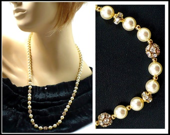 27 Inch Long Pearl & Rhinestone Necklace, Long White Pearl Necklace, Long Rhinestone Necklace, Laguna New Old Stock, Gift For Her