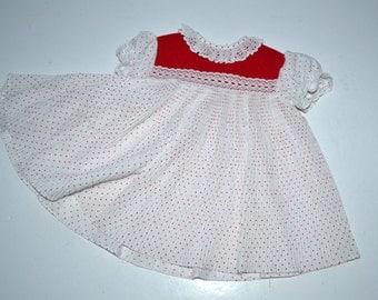 Vintage 80s Toddler  red white polka dots frock  girl's toddler  dress  18m little girl  flower girl dress  Easter Spring dress New NOS