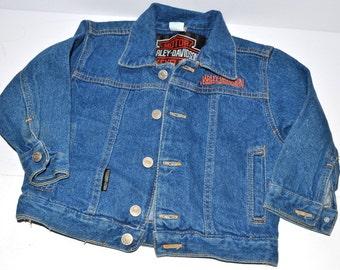 Vintage  80s Harley- Davidson  Denim Jacket boys 3T Motorcycles jacket denim blue jacket for little boys