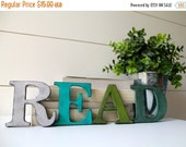 "ON SALE READ.   3.5"" Vintage Style Letters.  Hand painted and distressed."