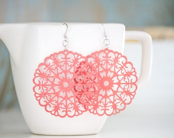 Coral Metal Round Filigree Dangles