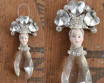 chandelier crystal ornament, pixie ornament, original art doll, doll head ornament, by Elizabeth Rosen