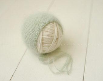 Newborn Knit Angora Bonnet Photography Prop Romarin