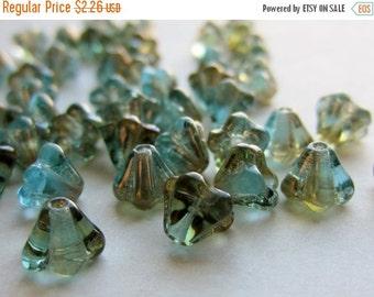 ON SALE Czech Glass Bead Baby Bell Flower 4/6mm Aquamarine Celsian QTY 20