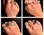 Handmade faux druzy rings [adjustable/fits most sizes]