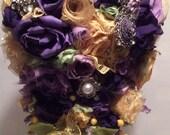 Cascading fabric flower bouquet