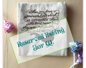"""RESERVED LISTING for M: Sherlock Quote Embroidered on Oatmeal Cotton Fabric, """"...whatever remains...must be the truth."""""""
