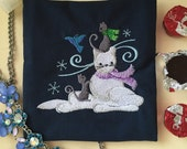 Snow Kitty made by Winter Cats, Charger or Makeup Storage Pouch, Navy with Cotton Lining, Winter Fun