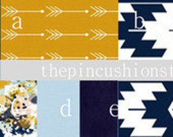 Navy. Indigo. Mustard. Amber Premium Baby Bedding Crib Set Modern  / Aztec / Kilim / Watercolor /MInky