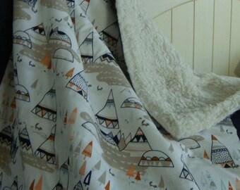 crib blanket  baby crib bedding tribal teepee woodland animals sherpa