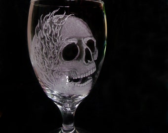 Wine glasses   Single Glass   Skulls and flames  hand engraved glass water goblets , custom barware  gift idea