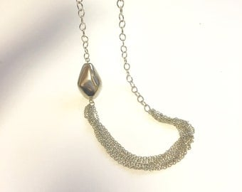 Silver Multi Chain Necklace with Large Silver Pebble Stone