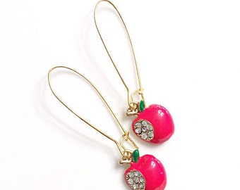 Red Apple Earrings Back To School Teacher Gift Fruit Earrings Best Teacher Ever