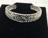Filigree Cuff Bracelet, Vintage Sterling Jewelry, Stamped .925, Floral Design, Estate Sale, Item No. S426