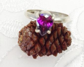 Amethyst Ring Size 8, Vintage Solitaire, Pear Shape Violet Stone, HALF OFF SALE, Item No. S393