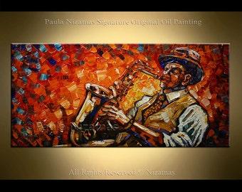 Saxophone Player Painting figure Oil Acrylic on Canvas Palette knife technique