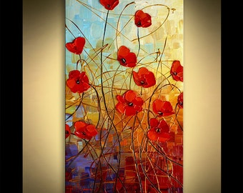 """Poppies Original Impressionist Palette Knife Floral  Painting from Paula on museum quality canvas 40"""" x 20"""""""