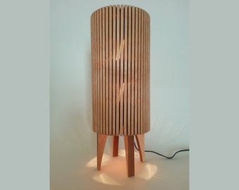 Wood Table Lamp, Handmade Mid Century Style - Accent, Mood, Nightlight in Cherry