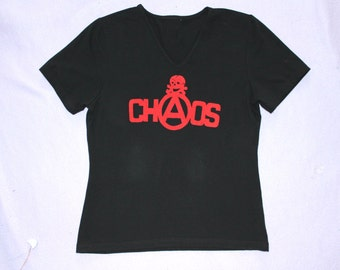 CHAOS - Punk T Shirt - Womens Fitted v neck tee - navy blue - tight - OOAK - small - seditionaries - viv westwood - skull -anarchy 34 chest