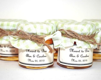 75 Small Mason Jar Honey Wedding Favors, Meant to Bee Honey Pot Wedding Favors, Meant to Bee Honey Jar Favors, Bee Honey Mason Jar Favors