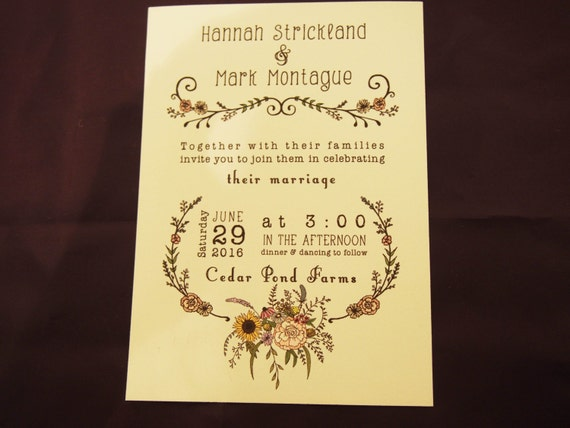 Boho Floral Invitations Boho Wedding Invitation Boho Chic Wedding