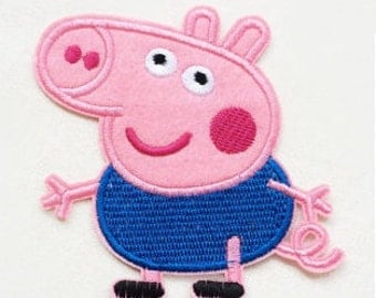 George Pig Iron On Patch - Embroidered George Pig Applique - Ready to Ship