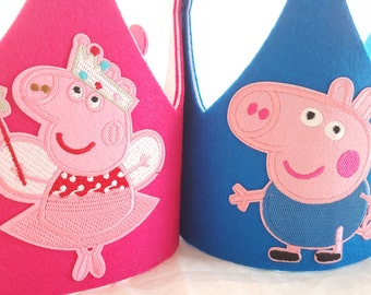 Peppa Pig Birthday Hat- Party Crown- George Pig Party Hat