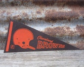 Vintage Cleveland Browns Football Team 1970s Era NFL 11 Inch Mini Felt Pennant Banner Flag vtg Vintage Christmas Gift Stocking Stuffer