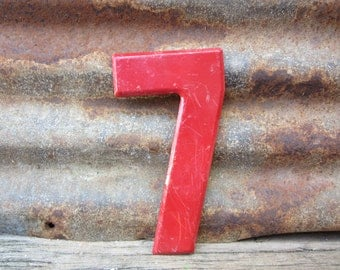 Number Sign Vintage Metal #7 Sign Seven 7 1/2 Inch Distressed Red Paint Marquee Sign Wall Art vtg Alphabet Letter Advertising Old