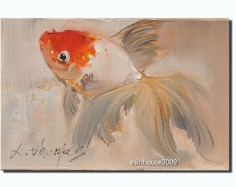 Original Oil Painting Goldfish Impressionism Animal Art 12cmx18cm Artist Signature