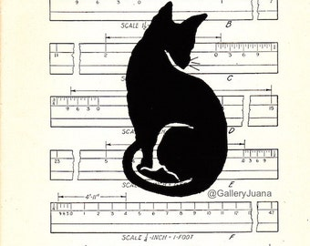 Black Kitty #7, handpulled cat print on vintage book paper