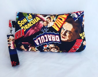 Monster, Vampire, Dracula, Horror, Old Hollywood, Movies, Purse, Bag, Wristlet, Handbag, Pouch, Clutch, Zipper Pouch
