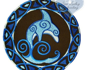 Celtic Dolphin Applique Embroidered Patch , Sew or Iron on