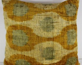 Silk Velvet Ikat Pillow Cover Lp309, Bohemian pillow, Velvet Ikat Pillow, Velvet Pillow
