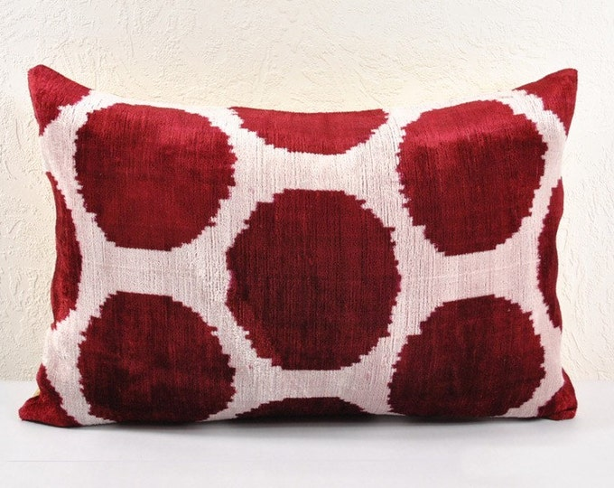 Silk Velvet Ikat Pillow Cover Lp20, Bohemian pillow, Velvet Ikat Pillow, Velvet Pillow