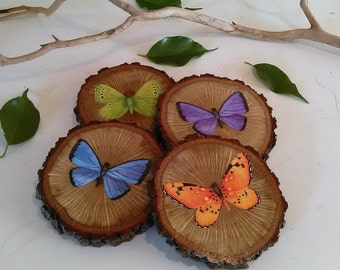 Wood coaster - Wood tree slices - Butterfly - Home decor - Kitchen coaster - Butterfly coaster