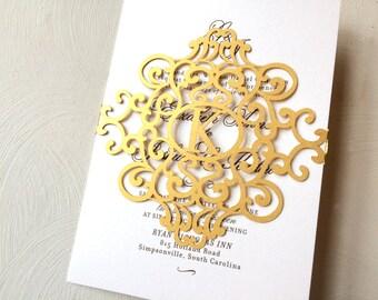 Laser Cut Gold Belly Band Monogram Wedding Invitation