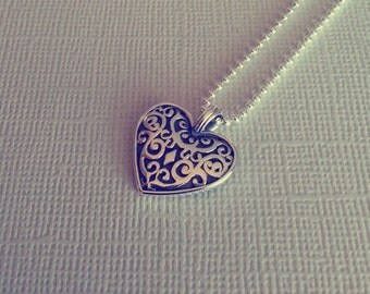 Lace-Lattice Sterling Silver Heart Pendant