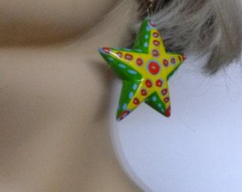 funky earrings, 80s jewelry, star earrings, vintage jewelry